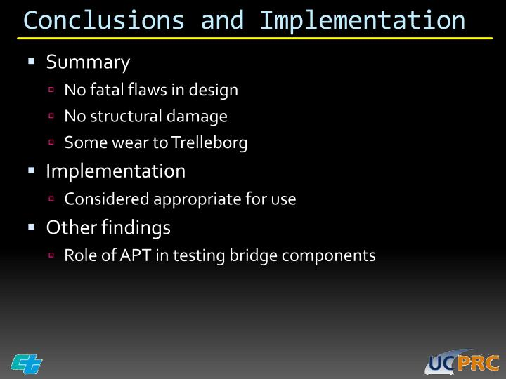 Conclusions and Implementation