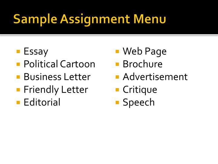 Sample Assignment Menu