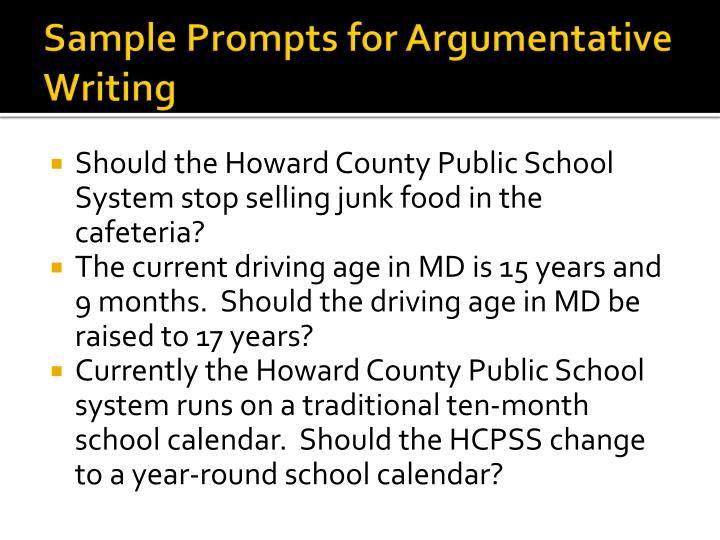 Sample Prompts for Argumentative Writing