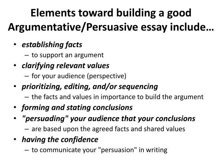 elements in a persuasive essay Elements of an argumentative essay  field 96  illinois state university, normal, illinois  an argumentative essay contains the following • an introduction.