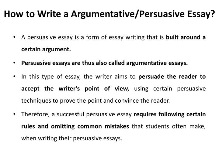 How to formulate a argumentative essay