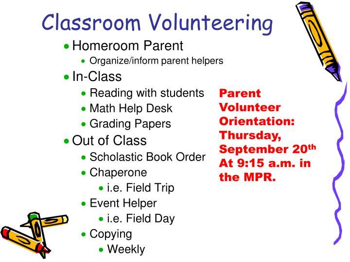 Classroom Volunteering