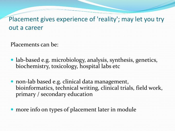 Placement gives experience of 'reality'; may let you try out a career