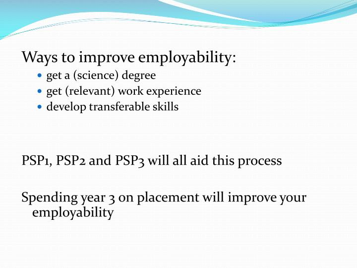Ways to improve employability