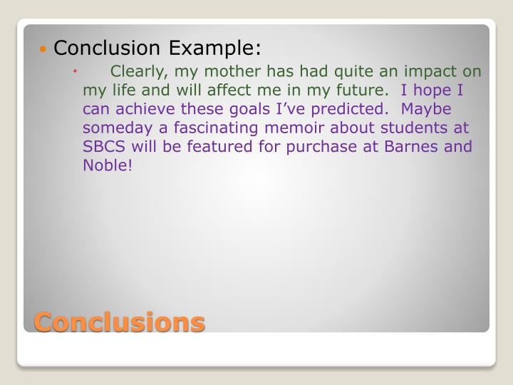 Conclusion Example: