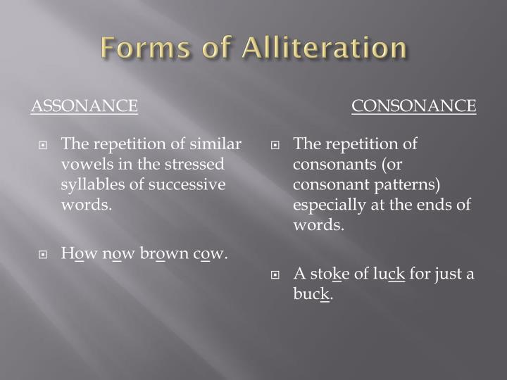 Forms of Alliteration