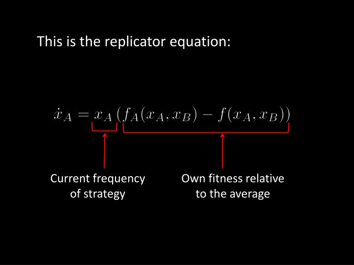 This is the replicator equation: