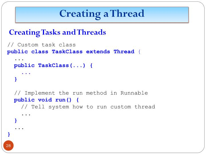 Creating Tasks and Threads