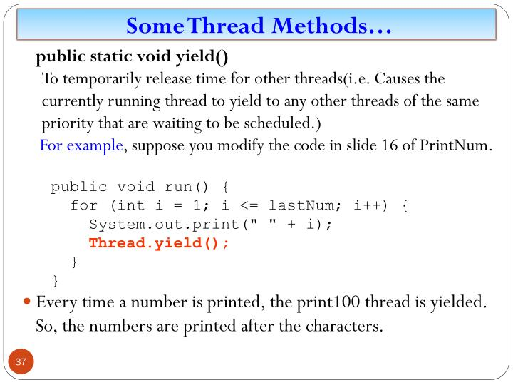 Some Thread Methods…