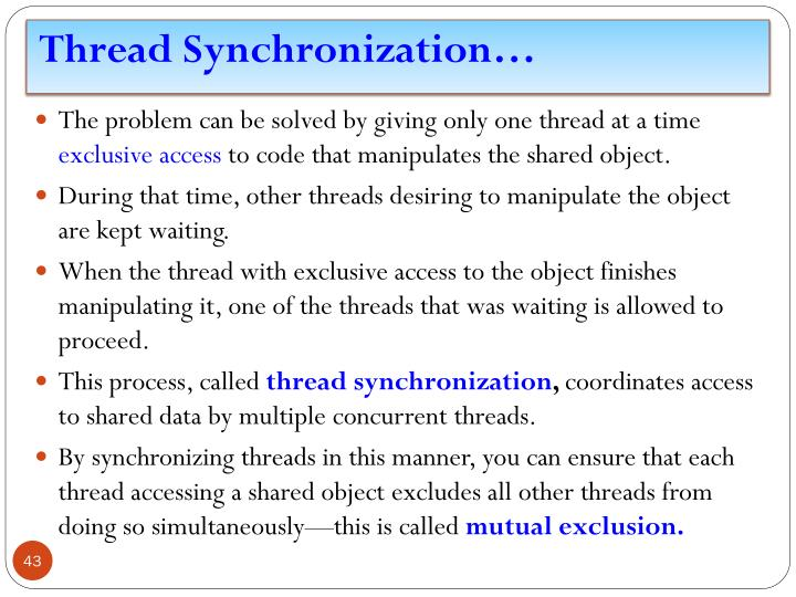 Thread Synchronization…