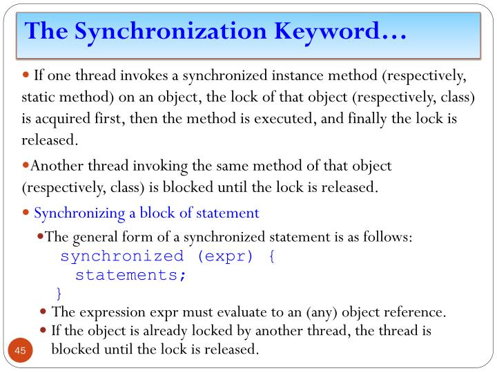 The Synchronization Keyword…