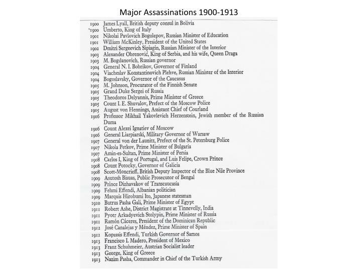 Major Assassinations 1900-1913