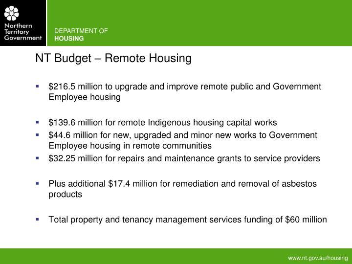 NT Budget – Remote Housing