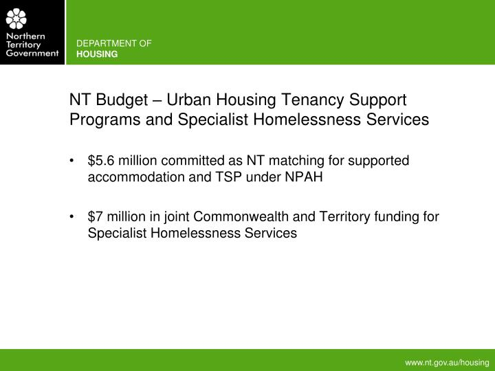 NT Budget – Urban Housing Tenancy Support Programs and Specialist Homelessness Services