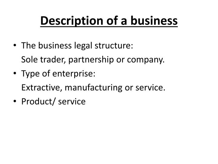 Description of a business