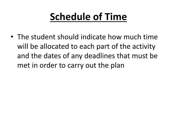 Schedule of Time