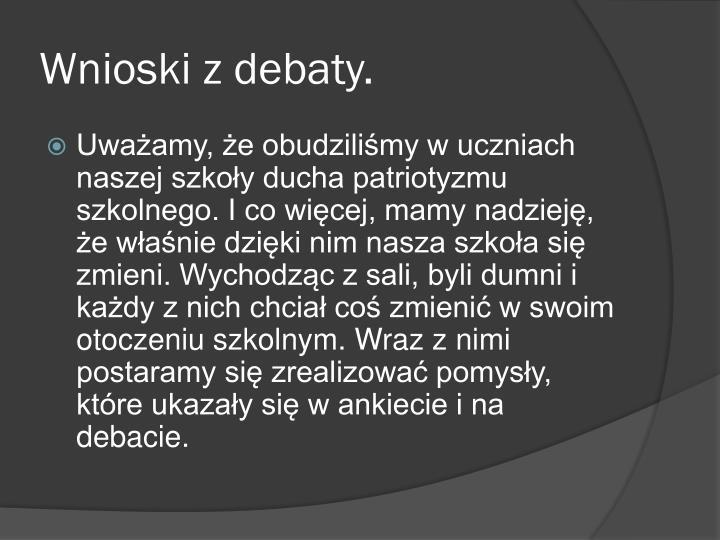 Wnioski z debaty.