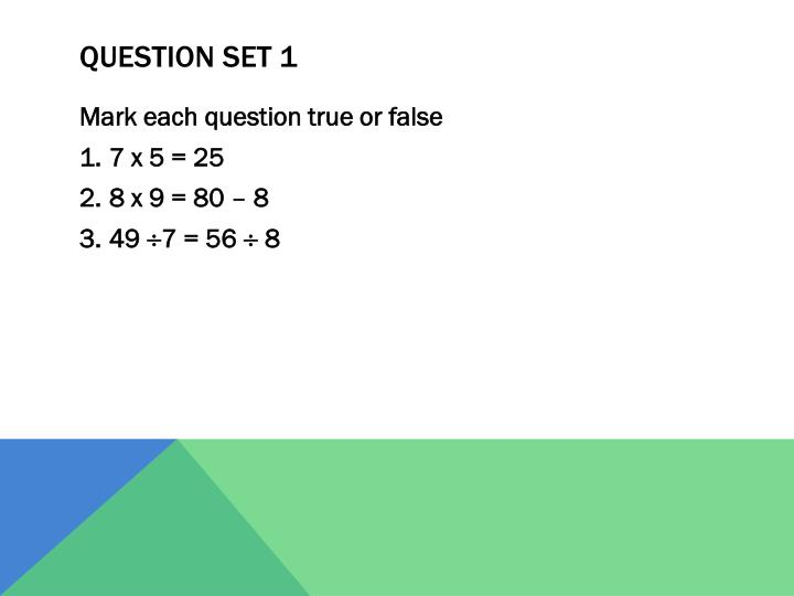 Question set 1