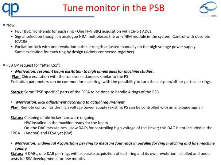 Tune monitor in the PSB