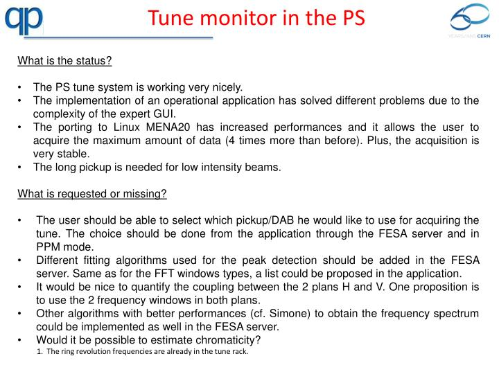 Tune monitor in the PS