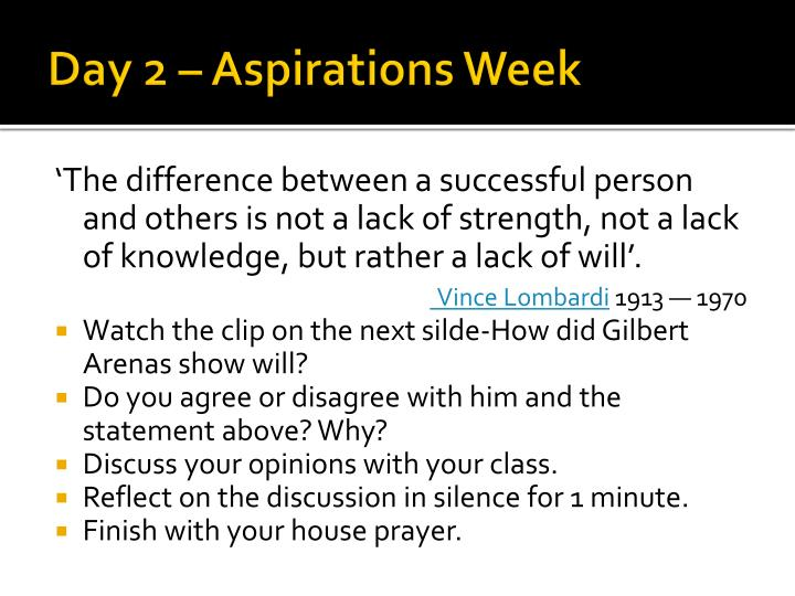 Day 2 aspirations week