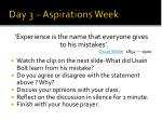 day 3 aspirations week