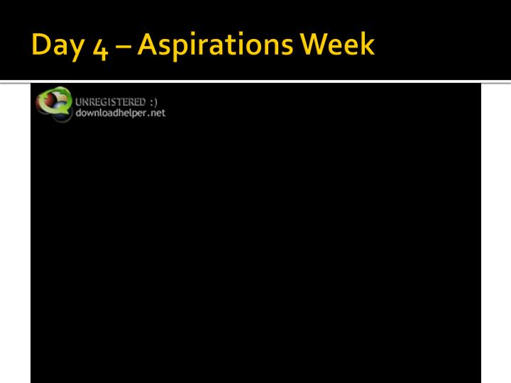 Day 4 – Aspirations Week