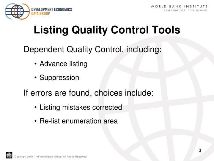 Listing Quality Control Tools