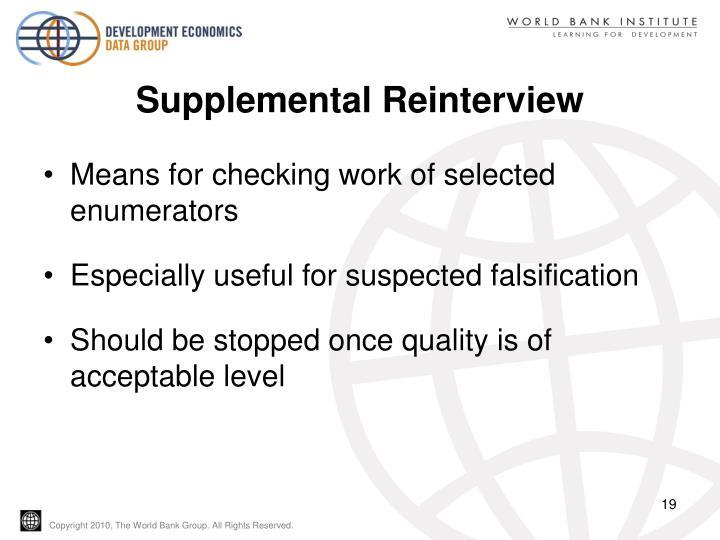 Supplemental Reinterview