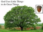 god uses little things to do great things