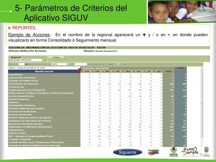 5- Parámetros de Criterios del