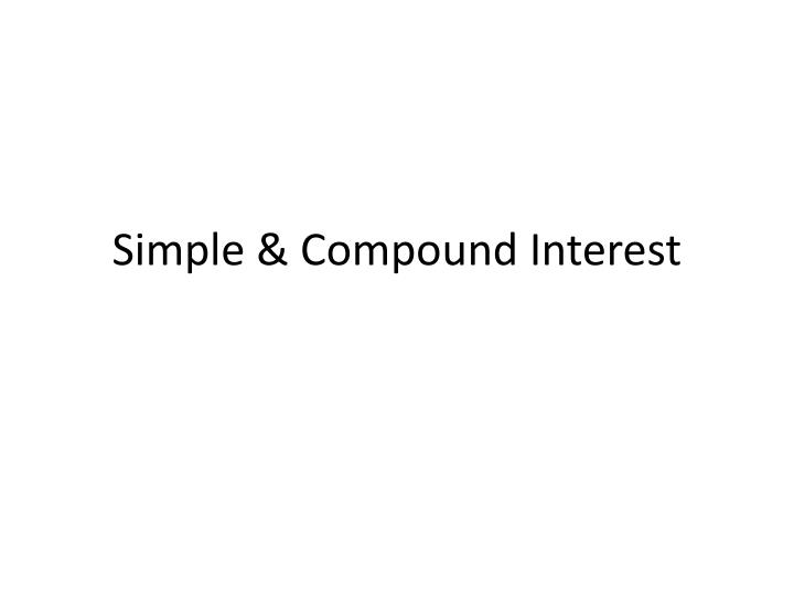 Simple compound interest