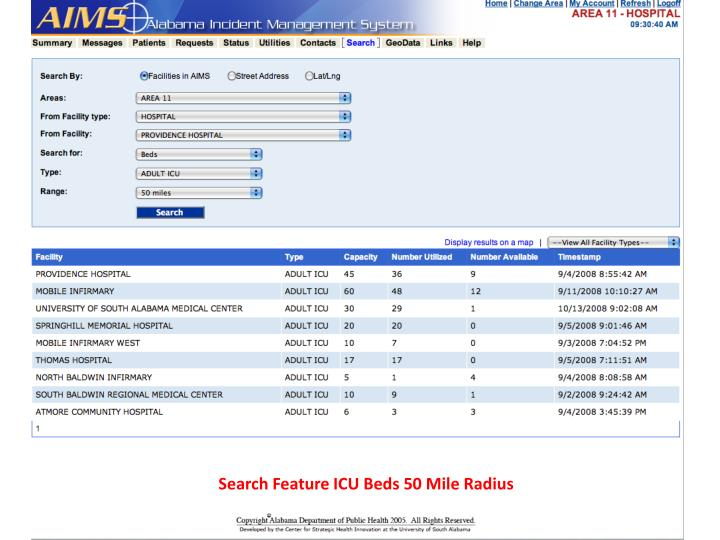 Search Feature ICU Beds 50 Mile Radius
