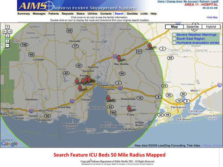 Search Feature ICU Beds 50 Mile Radius Mapped