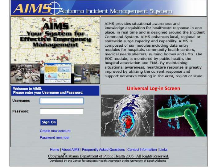 Universal Log-in Screen