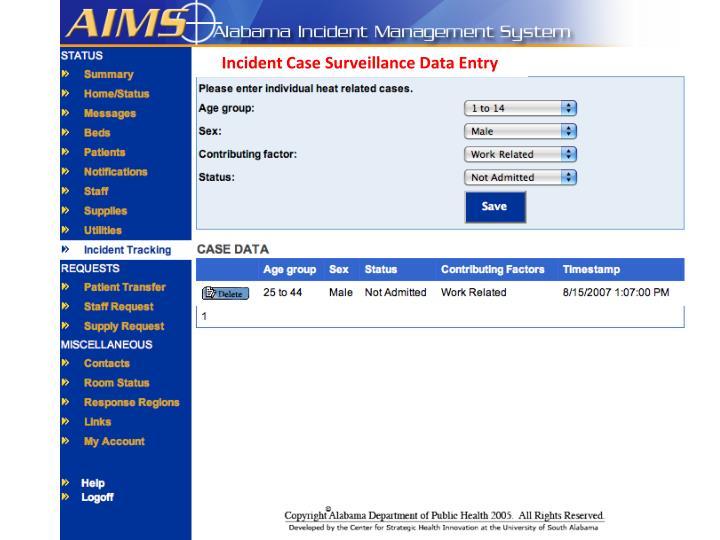 Incident Case Surveillance Data Entry
