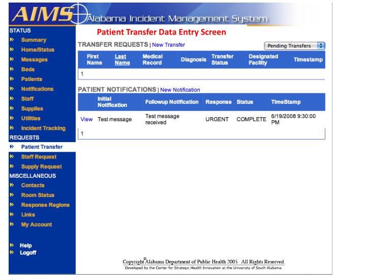 Patient Transfer Data Entry Screen