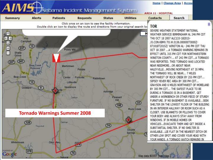 Tornado Warnings Summer 2008