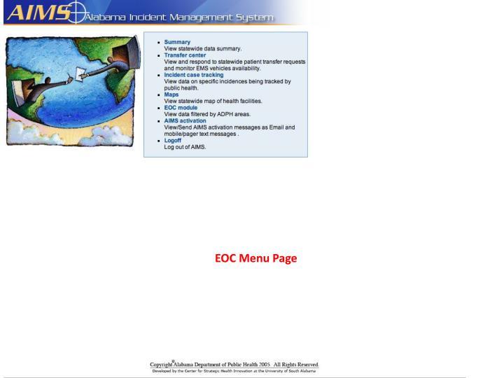 EOC Menu Page