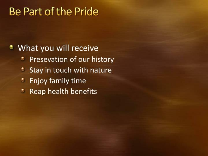 Be Part of the Pride
