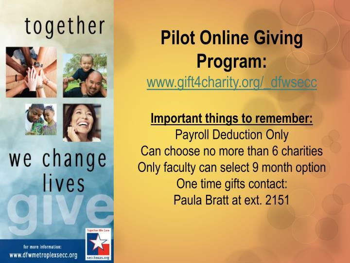 Pilot Online Giving Program: