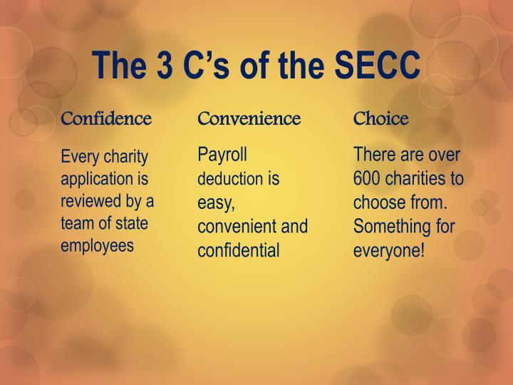 The 3 C's of the SECC