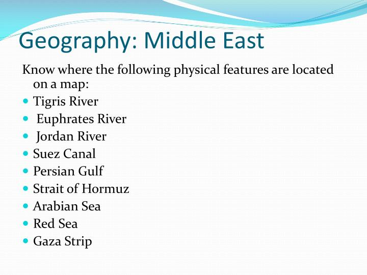Geography: Middle East