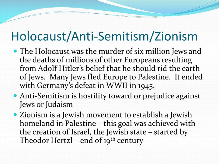 Holocaust/Anti-Semitism/Zionism