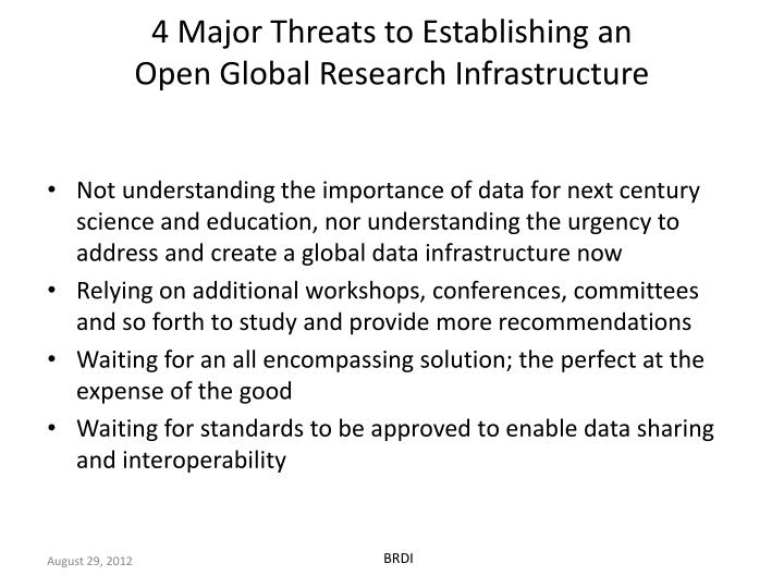 4 major threats to establishing an open global research infrastructure