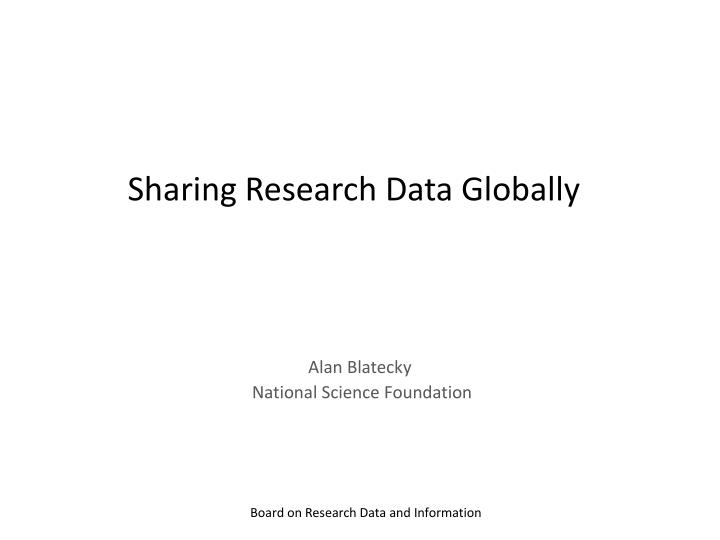 Sharing research data globally