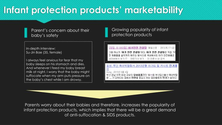 Infant protection products' marketability
