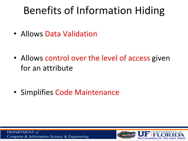 Benefits of Information Hiding