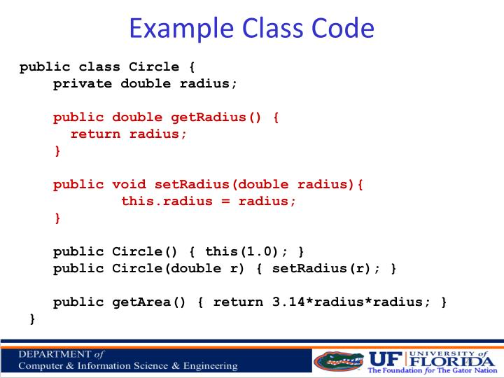 Example Class Code