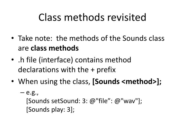 Class methods revisited